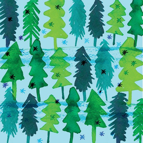 Jo Rooks Illustration - jo, rooks, watercolour, paint, photoshop, digital, painterly, graphic, colourful, trees, trend, repeat pattern, gift wrap, wrapping paper