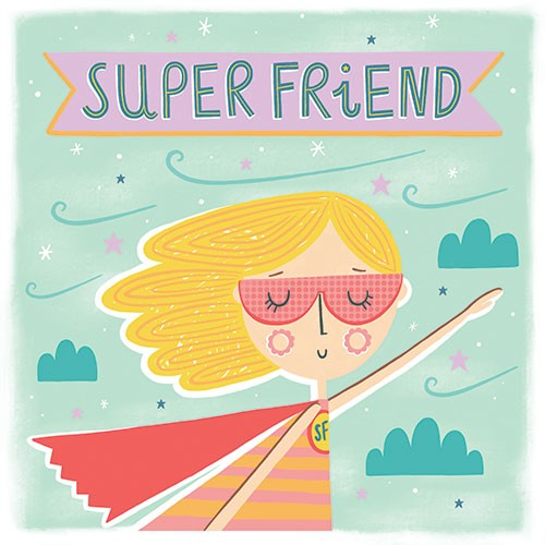 Katy Halford Illustration - katy, halford, digital, photoshop, illustrator, trend, fun, young, bright, card, greetings card, typography, friend, friendship, super, hero, thanks, cape, mask, sky, clouds, flying,