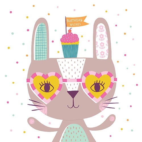 Katy Halford Illustration - katy, halford, digital, photoshop, illustrator, trend, fun, young, bright, birthday, card, greetings card, rabbit, glasses, funky, cake, humour, funny, character, pattern