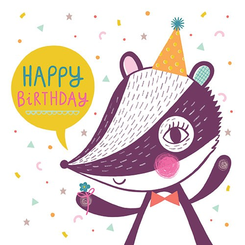 Katy Halford Illustration - katy, halford, digital, photoshop, illustrator, trend, fun, young, bright, birthday, card, greetings card, typography, birthday,  badger, animal, wildlife, hat, party, flowers, shapes, patterns,