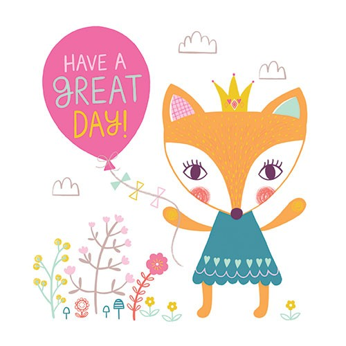 Katy Halford Illustration - katy, halford, digital, photoshop, illustrator, trend, fun, young, bright, birthday, card, greetings card, typography, birthday, fox, cute, sweet, young, have a great day, crown, dress, flowers, plants