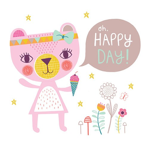 Katy Halford Illustration - katy, halford, digital, photoshop, illustrator, trend, fun, young, bright, birthday, card, greetings card, typography, birthday, bear, happy day, cute, sweet, young, bow, hairband, ice cream, flowers