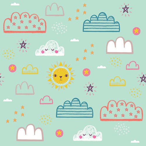 Katy Halford Illustration - katy, halford, digital, photoshop, illustrator, trend, fun, young, bright, repeat pattern, sample, gift wrap, wrapping paper, floral, flowers,wall paper, wall covering, clouds, weather, faces, sun, detailing, young, sweet, cute,