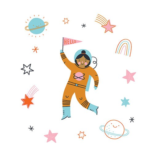 Lisa Koesterke Illustration - digital, hand drawn, photoshop, postcard, illustrator, colourful, bright, greetings card, greeting, stationary, pattern, space, stars, planets, smile, face, happy, astronaut, flag, person, woman, figure, rainbows, cute, sweet