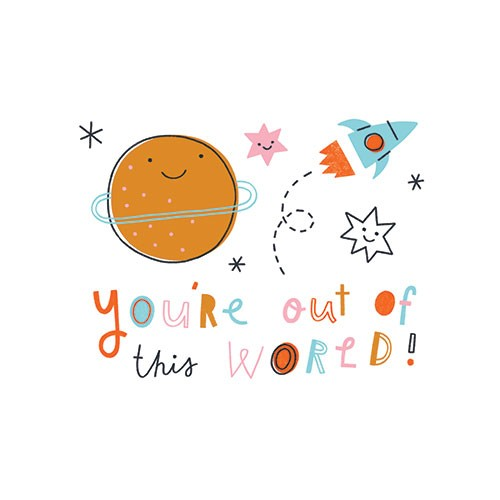 Lisa Koesterke Illustration - lisa, koesterke, lisa koesterke, digital, hand drawn, photoshop, postcard, illustrator, colourful, bright, greetings card, greeting, stationary, pattern, space, planet, rocket, stars, text, words, smile, faces, out of this world