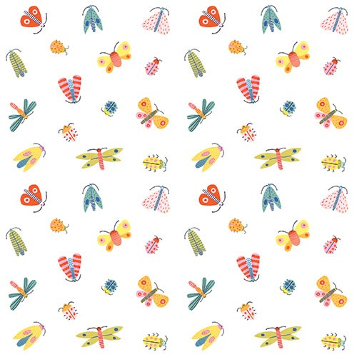 Lisa Koesterke Illustration - lisa, koesterke, lisa koesterke, digital, hand drawn, photoshop, postcard, illustrator, colourful, bright, greetings card, greeting, stationary, pattern, bugs, insects, faces, smile, cute, pretty, wrapping paper, repeating pattern, wings