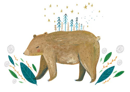 Louise  Wright Illustration - louise, wright, louise wright, digital, painterly, post card, greetings card, licensing, art licensing, gift wrap, nature, bear, trees, woods, stars, magical,