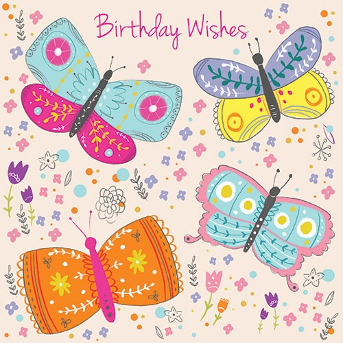 Louise  Wright Illustration - louise, wright, louise wright, digital, photoshop, illustrator, post card, greetings card, licensing, art licensing, decorative, birthday, happy, butterflies, pattern, detailed, flowers, wishes, plants, girly, colourful