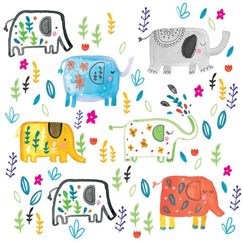 Louise  Wright Illustration - louise, wright, louise wright, painterly, watercolour, post card, surface pattern, repeat pattern, greetings card, licensing, art licensing, animals, elephants, floral, flowers, plants, detail