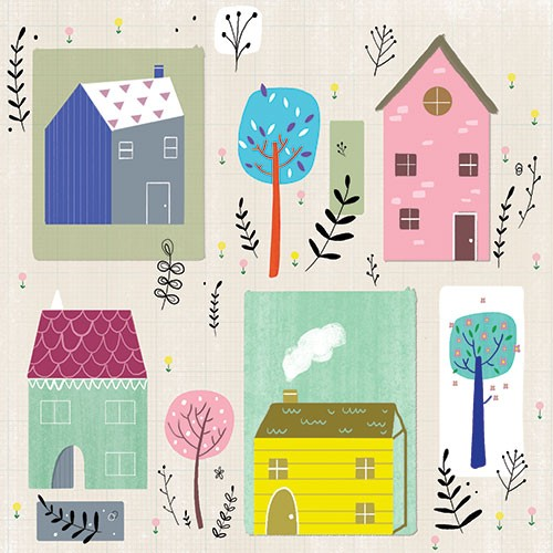 Louise  Wright Illustration - louise, wright, louise wright, digital, photoshop, illustrator, post card, greetings card, licensing, art licensing, texture, new home, house, new house, trees, colourful, plants, garden