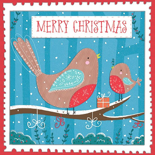 Louise  Wright Illustration - louise, wright, louise wright, digital, photoshop, illustrator, post card, greetings card, licensing, art licensing, christmas, festive, couple, xmas, decorative, robins, birds, present, merry, typography, snowflakes, woodland