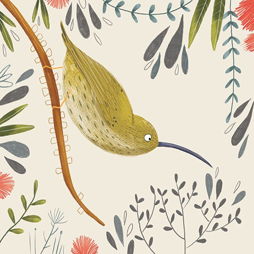 Louise  Wright Illustration - louise, wright, louise wright, digital, photoshop, illustrator, post card, greetings card, licensing, art licensing, texture, plants, leaves, tree, bird, detail, decorative