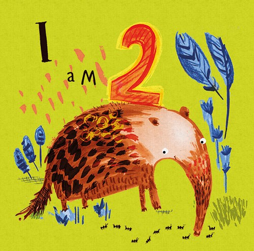 Michaela Dias-Hayes Illustration - michaela, hayes, michaela hayes, handdrawn, pencil, digital, photoshop, illustrator, post card, greeting cards, licensing, art licensing, texture, animals, birthday, age, number, 2, two, plants, anteater, wild, ants, flowers,