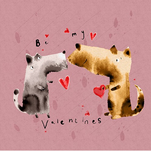 Michaela Dias-Hayes Illustration - michaela, hayes, michaela hayes, handdrawn, pencil, digital, photoshop, illustrator, post card, greeting cards, licensing, art licensing, texture, valentines, valentine's day, hearts, love, dogs, animals, cute, sweet, words, text,