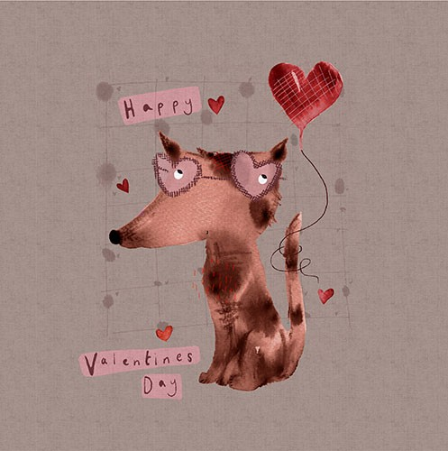 Michaela Dias-Hayes Illustration - michaela, hayes, michaela hayes, handdrawn, pencil, digital, photoshop, illustrator, post card, greeting cards, licensing, art licensing, texture, valentines, valentine's day, hearts, love, dog, animals, cute, sweet, words, text, balloon,