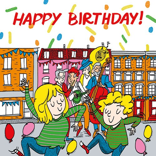 Maria  Serrano Canovas Illustration - maria, serrano, black line, digital, photoshop, illustrator, greetings card, post card, happy, birthday, boy, girl, balloons, street party, dancing, musical, instruments, hat, party, celebration, confetti, colourful, bold, graphic
