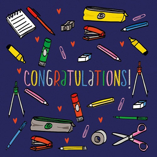 Maria  Serrano Canovas Illustration - maria, serrano, black line, digital, photoshop, illustrator, typography, greetings card, post card, congratulations, exams, tests, pass, stationary, pen, pencil, hearts, rulers, stapler, scissors, home