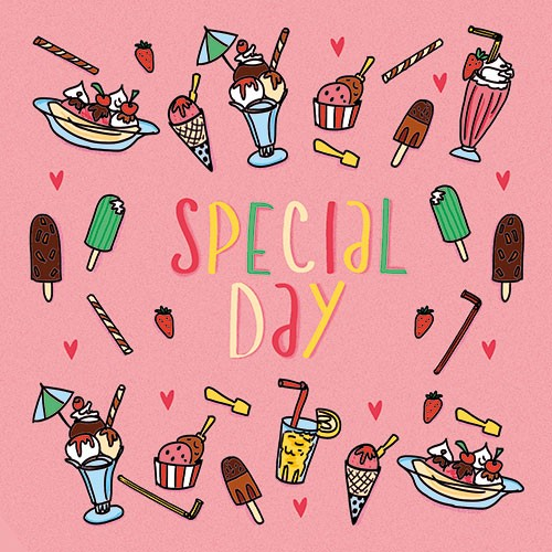 Maria  Serrano Canovas Illustration - maria, serrano, black line, digital, photoshop, illustrator, typography, greetings card, post card, special day, happy, ice cream , friends, sundae, lolly pop, cute