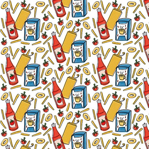Maria  Serrano Canovas Illustration - maria, serrano, black line, digital, photoshop, illustrator, repeat pattern, surface pattern design, gift wrap, wrapping paper, food, fast food, bold, graphic, ketchup, mustard, sauces