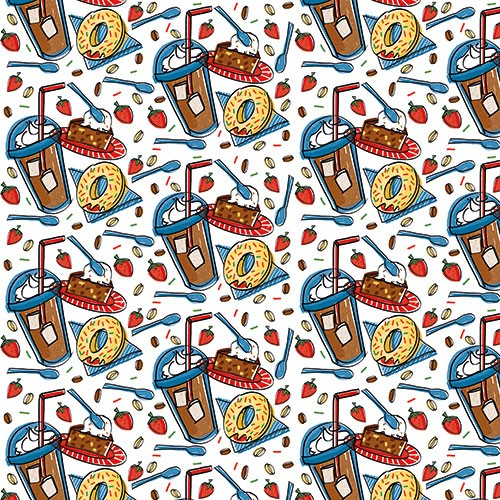 Maria  Serrano Canovas Illustration - maria, serrano, black line, digital, photoshop, illustrator, repeat pattern, surface pattern design, gift wrap, wrapping paper, food, fast food, bold, graphic, shake, doughnuts
