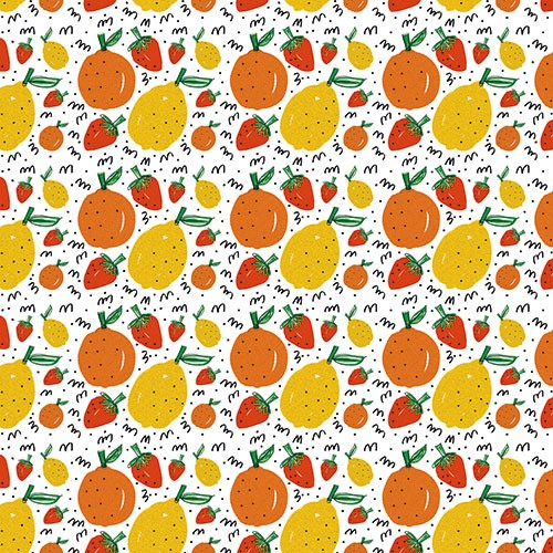 Maria  Serrano Canovas Illustration - maria, serrano, black line, digital, photoshop, illustrator, repeat pattern, surface pattern design, gift wrap, wrapping paper, bold, fruit,, oranges, lemons, strawberry, strawberries,