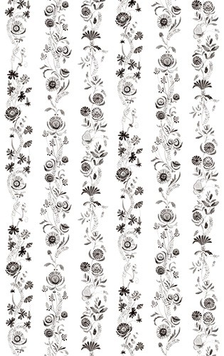 Melissa Shultz-Jones Illustration - melissa, shultz-jones, repeat pattern, surface pattern design, gift wrap, wrapping paper, b&w, black and white, flowers, floral, wall paper, stripes