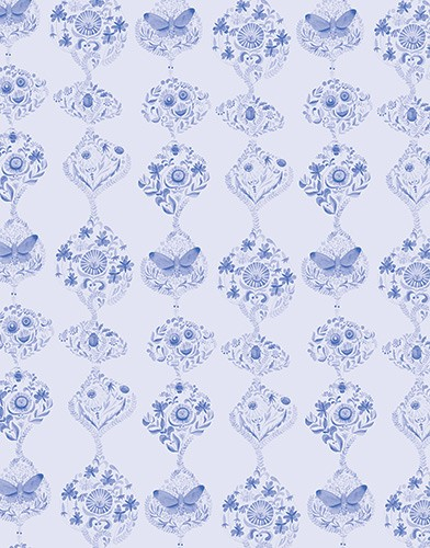Melissa Shultz-Jones Illustration - melissa, shultz-jones, repeat pattern, surface pattern design, gift wrap, wrapping paper, folk, watercolour, blue, plants, flowers, detailed