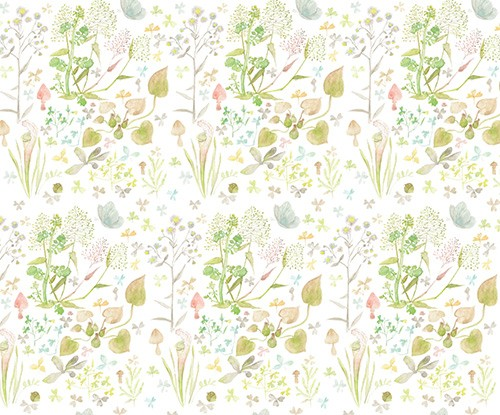 Melissa Shultz-Jones Illustration - melissa, shultz-jones, repeat pattern, surface pattern design, gift wrap, wrapping paper, watercolour, painter,y traditional, leaves, plants, flowers, bugs