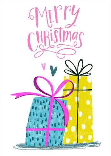 Shelly Laslo Illustration - shelly, laslo, shelly laslo, greeting cards, stationary, hand drawn colour, colourful, bright, trade, christmas, festive, seasonal, text, phrase, presents, gifts, bow, hearts, love, merry christmas,