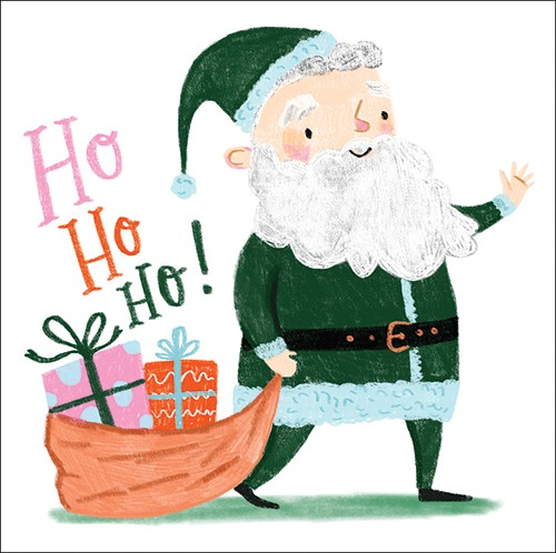Shelly Laslo Illustration - shelly, laslo, shelly laslo, greeting cards, stationary, hand drawn colour, colourful, bright, trade, christmas, festive, seasonal, santa, father christmas, ho ho ho, saying, phrase, text, presents, gifts, sack, happy, smile, hat, beard, bow