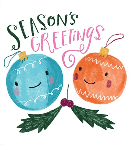 Shelly Laslo Illustration - shelly, laslo, shelly laslo, greeting cards, stationary, hand drawn colour, colourful, bright, trade, christmas, festive, seasonal, baubles, decoration, greetings, text, phrase, holly, berries, smile, happy, season's greetings