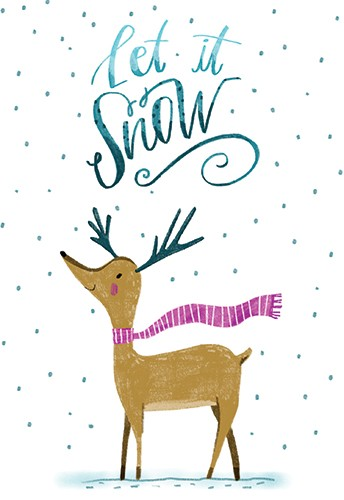 Shelly Laslo Illustration - shelly, laslo, shelly laslo, greeting cards, stationary, hand drawn colour, colourful, bright, trade, christmas, festive, seasonal, snow, deer, reindeer, animal, scarf, text, let it snow,