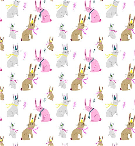 Shelly Laslo Illustration - shelly, laslo, shelly laslo, greeting cards, stationary, hand drawn colour, colourful, bright, trade, christmas, festive, seasonal, rabbit, bunny, rabbits, bunnies, animals, scarf, pattern, repeating, background