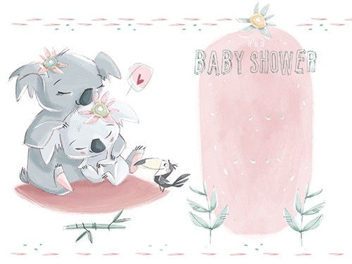 Simona  Sanfilippo Illustration - simona sanfilippo, licensing, trade, cards, greeting cards, greetings cards, handdrawn, traditional, colourful, colour, pencil, occasion, baby shower, baby, koalas, parent, animals, wild, cute, sweet, shower, flowers, nature, card,