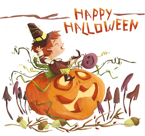 Simona  Sanfilippo Illustration - simona, sanfilippo, licensing, card design, hand drawn, autumn, seasonal, holiday, halloween, spooky, pumpkins, child, witch, happy, acorns, fall,