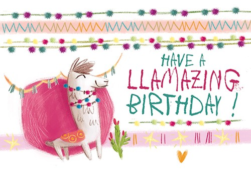 Simona  Sanfilippo Illustration - simona sanfilippo, licensing, trade, cards, greeting cards, greetings cards, handdrawn, traditional, colourful, colour, pencil, occasion, celebrate, birthday, llama, animal, wild, cute, sweet,, decorations, bunting, stars, happy, sparks,