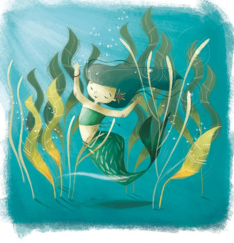 Simona  Sanfilippo Illustration - simona sanfilippo, licensing, trade, cards, greeting cards, greetings cards, handdrawn, traditional, colourful, colour, pencil, mermaid, underwater, sea, ocean, reeds, coral, seaweed, happy, beautiful, water, fail, fin, lady, woman, girl,