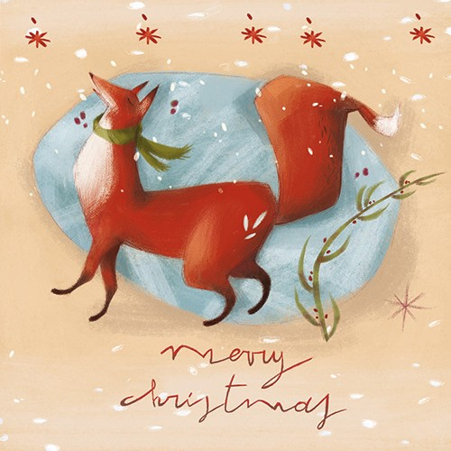 Simona  Sanfilippo Illustration - simona sanfilippo, licensing, trade, cards, greeting cards, greetings cards, handdrawn, traditional, colourful, colour, pencil, occasion, christmas, festive, seasonal, winter, snow, weather, merry christmas, fox, scarf, cold, cute, sweet, nature, beautifu