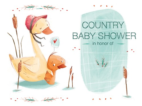 Simona  Sanfilippo Illustration - simona sanfilippo, licensing, trade, cards, greeting cards, greetings cards, handdrawn, traditional, colourful, colour, pencil, occasion, baby shower, baby, ducks, duckling, animals, wild, cute, sweet, shower, reeds, nature, card,
