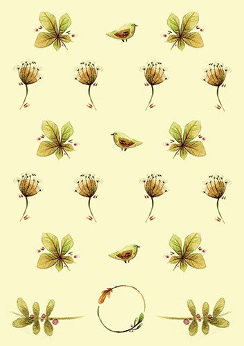 Simona  Sanfilippo Illustration - simona, sanfilippo, licensing, repeat pattern, wrapping paper, card design, flowers, leaves, birds