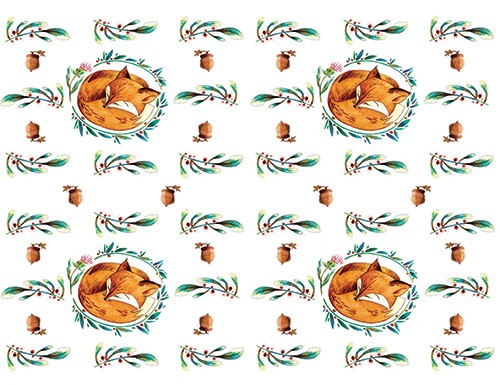 Simona  Sanfilippo Illustration - simona, sanfilippo, licensing, repeat pattern, wrapping paper, card design, fox, animal, leaves, blossom