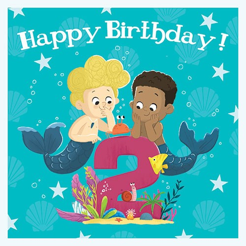Tim Budgen Illustration - tim, budge, tim budgen, digital, photoshop, illustrator, trend, fun, young, bright, birthday, card, greetings card, mermaids, boys, magical, fantasy, birthday, age, numbers, 2, two, underwater, ocean, sea, crab, friends, fish, stars, bubbles, cute, sweet