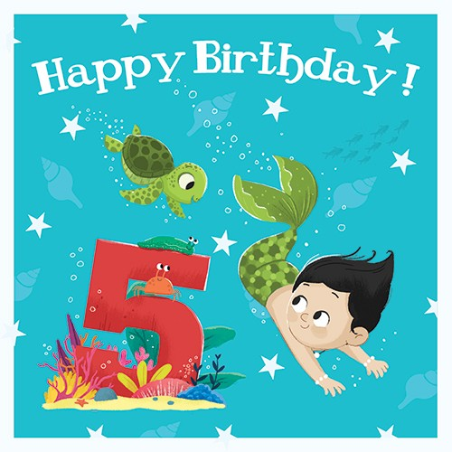 Tim Budgen Illustration - tim, budge, tim budgen, digital, photoshop, illustrator, trend, fun, young, bright, birthday, card, greetings card, mermaid, boy, magical, fantasy, birthday, age, numbers, 5, five, underwater, ocean, sea, friends, turtle, snail, stars, shells, plants, san