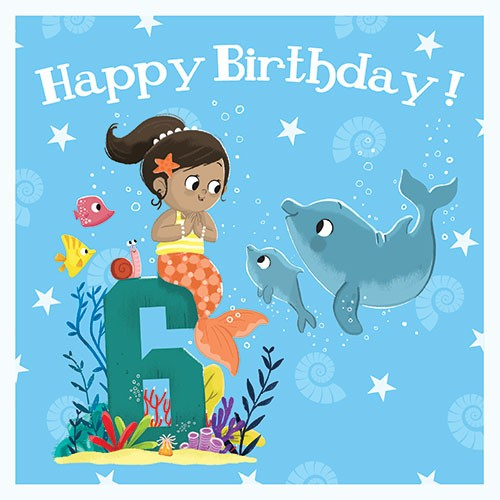 Tim Budgen Illustration - tim, budge, tim budgen, digital, photoshop, illustrator, trend, fun, young, bright, birthday, card, greetings card, mermaid, girl, magical, fantasy, birthday, age, numbers, 6, six, underwater, ocean, sea, friends, snail, fish, dolphins, stars, shells, pla