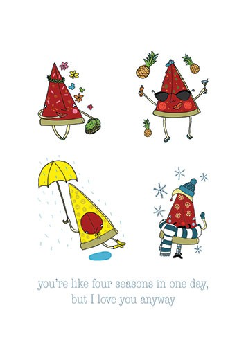 Vicky Lommatzsch Illustration - vicky, lommatzsch, vicky lommatzsch, licensing, greetings cards, cards, stationary, seasons, pizza, slice, food, weather, spring, summer, autumn, winter, birthday, birthday card, rain, snow, hot, cold, funny, love, friends, friendship, flowers,
