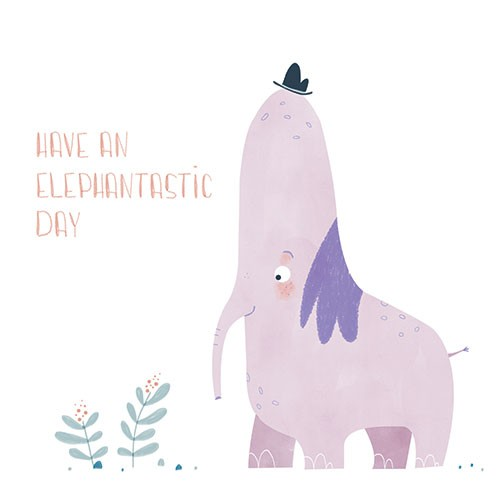 Vicky Lommatzsch Illustration - vicky, lommatzsch, vicky lommatzsch, licensing, greetings cards, cards, stationary, birthday, birthday card, elephant, animals, cute, pun, sweet, funny, nature, flowers, hat, occasion,