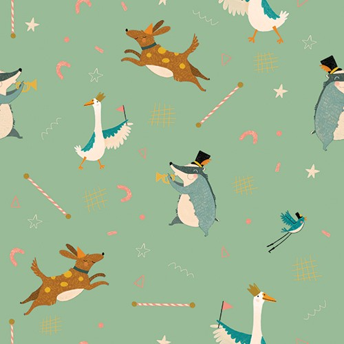 Vicky Lommatzsch Illustration - vicky, lommatzsch, vicky lommatzsch, licensing, greetings cards, cards, stationary, pattern, party, birthday, dog, badger, swan, music, trumpet, hat, party hat, repeat, wrapping paper,