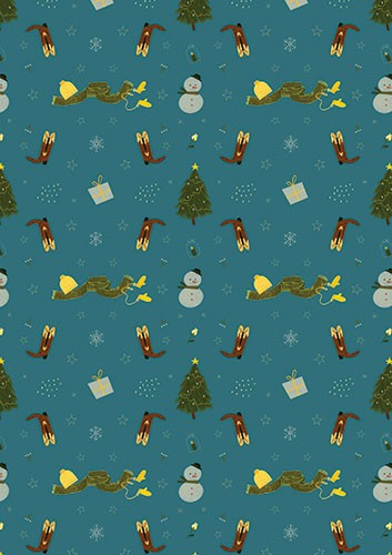 Vicky Lommatzsch Illustration - vicky, lommatzsch, vicky lommatzsch, licensing, greetings cards, cards, pattern, repeat, repeating pattern, christmas, festive, seasonal, snowman, tree, scarf, hat, gloves, cowboy boots, boots, stars, snowflakes, presents,