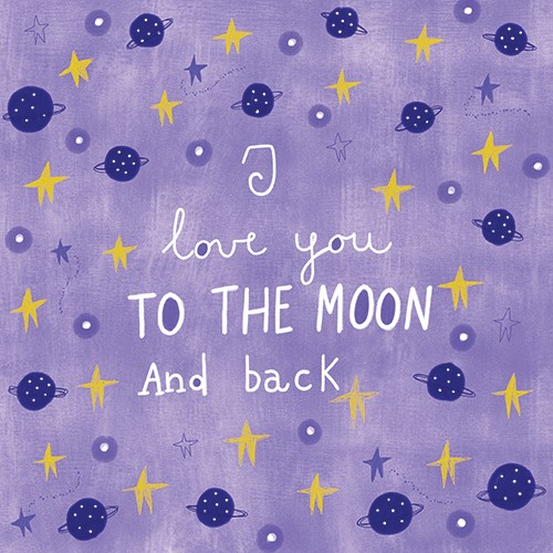 Valeria Valenza Illustration - valeria valenza, licensing, greetings cards, digital, pattern, text, stars, planets, colourful, moon, hand drawn