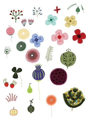 Valeria Valenza Illustration - valeria valenza, licensing, greetings cards, digital, pattern, texture, flowers, colourful, leaves, fruit